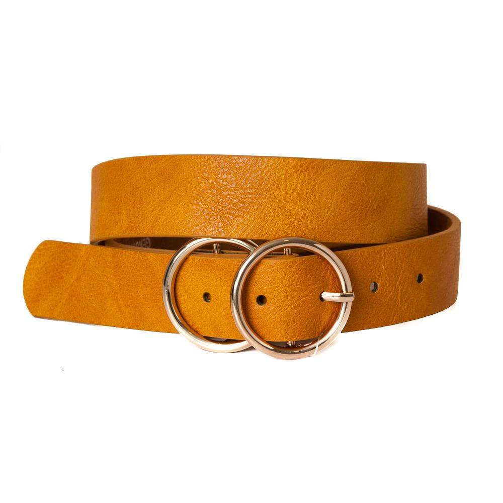 Belt, pu/leather double sirkel ring buckle dk yellow