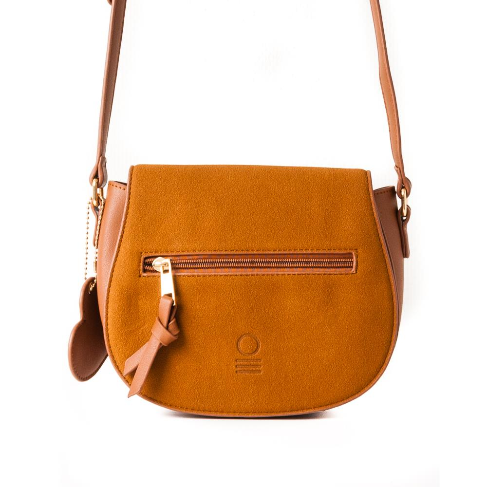 Bag, Oval clutch with zippers cognac