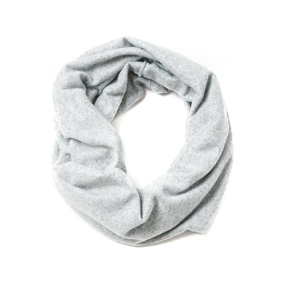 Scarf, knitted tube grey