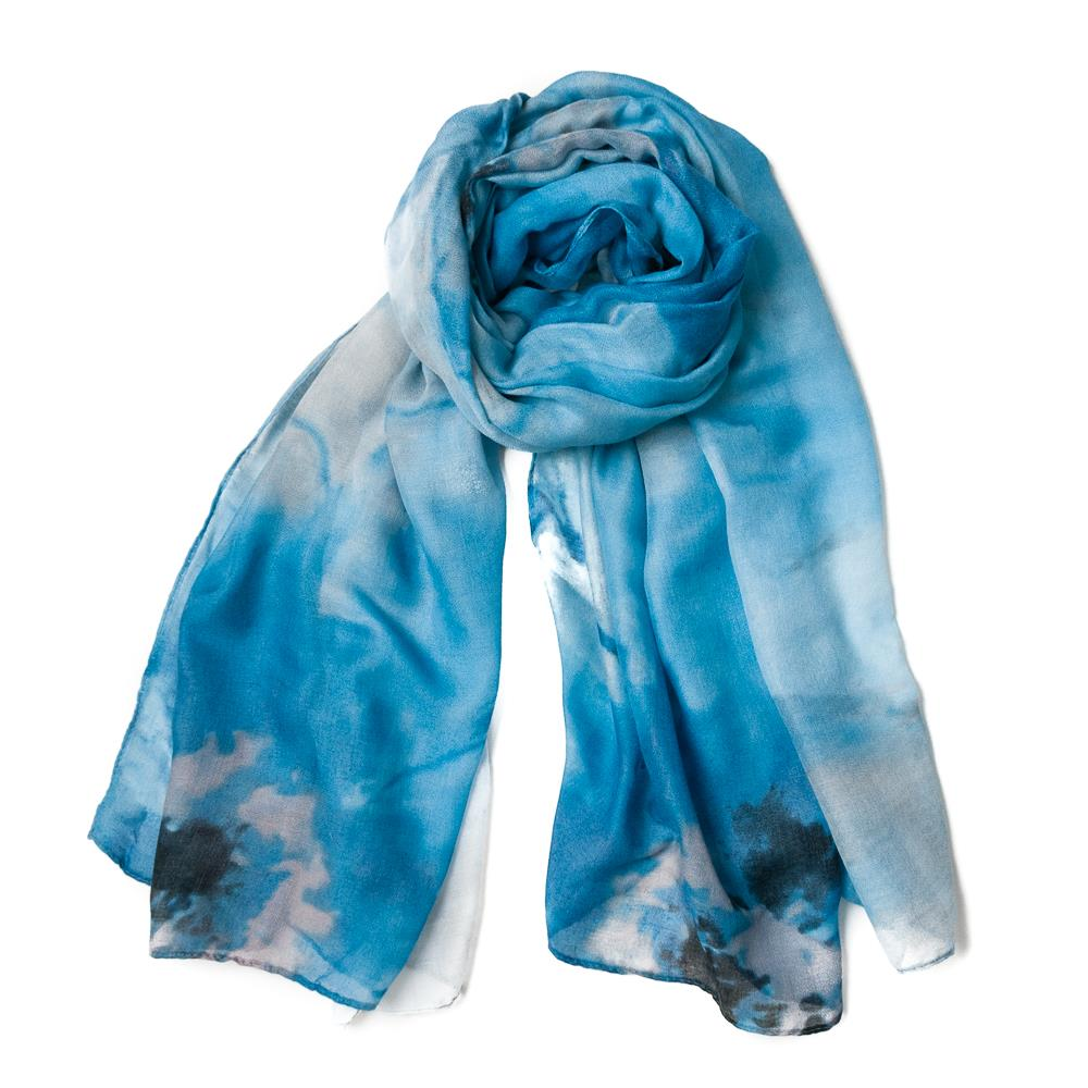 Scarf, big flower print blue