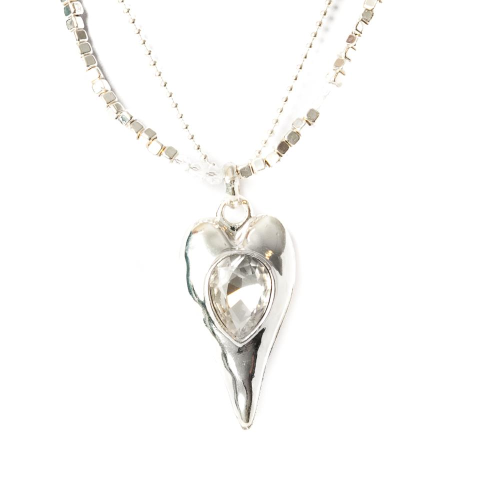 Necklace, double chain heart silver/silver stones