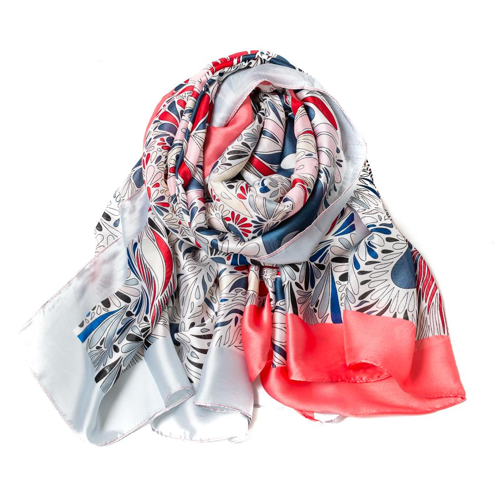 Scarf, Silk look feather print pink