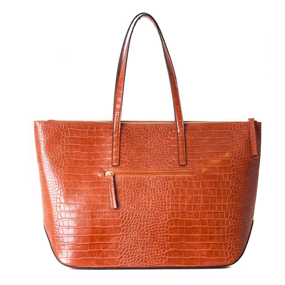 Bag, croco shopper cognac
