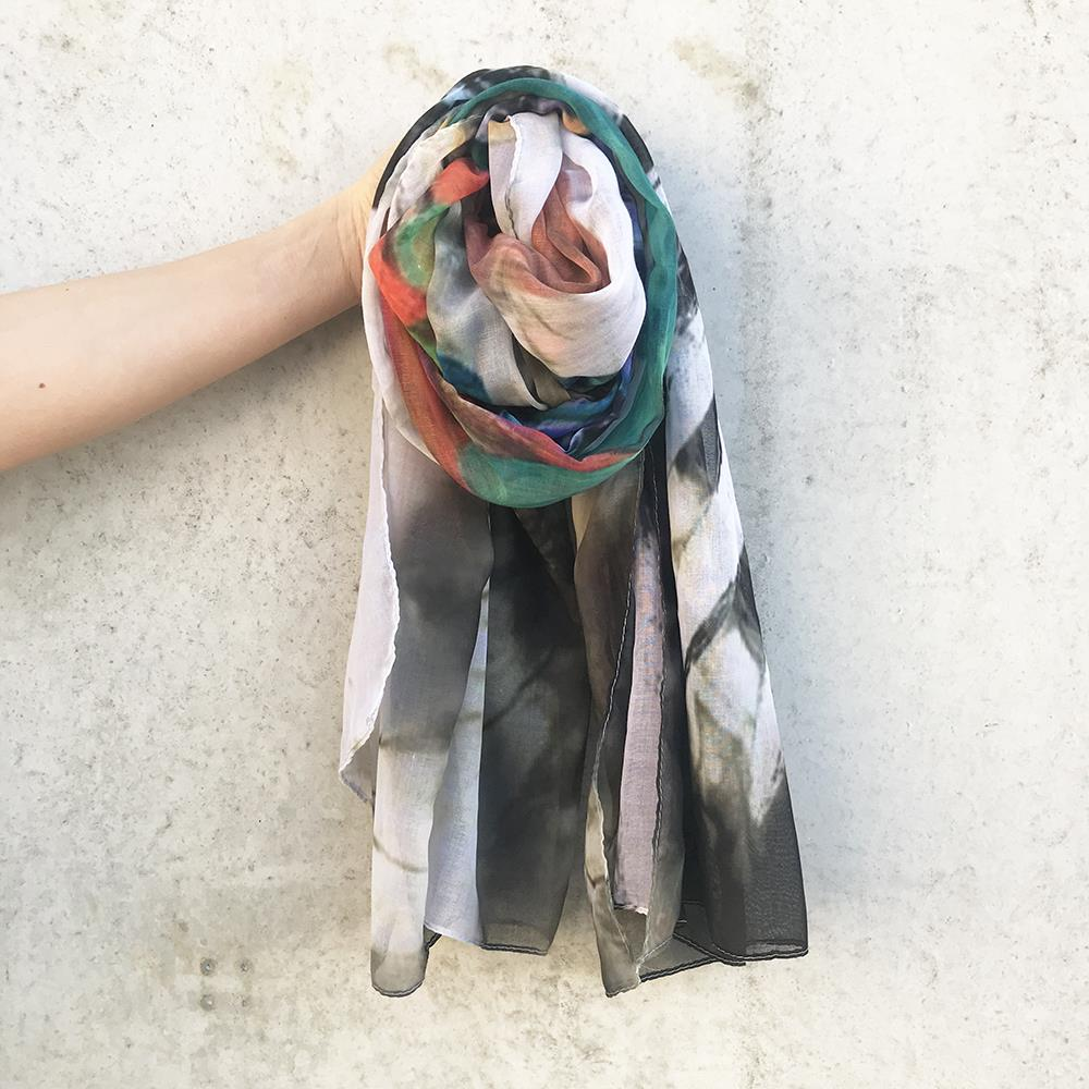 Scarf, Multi colored feather print