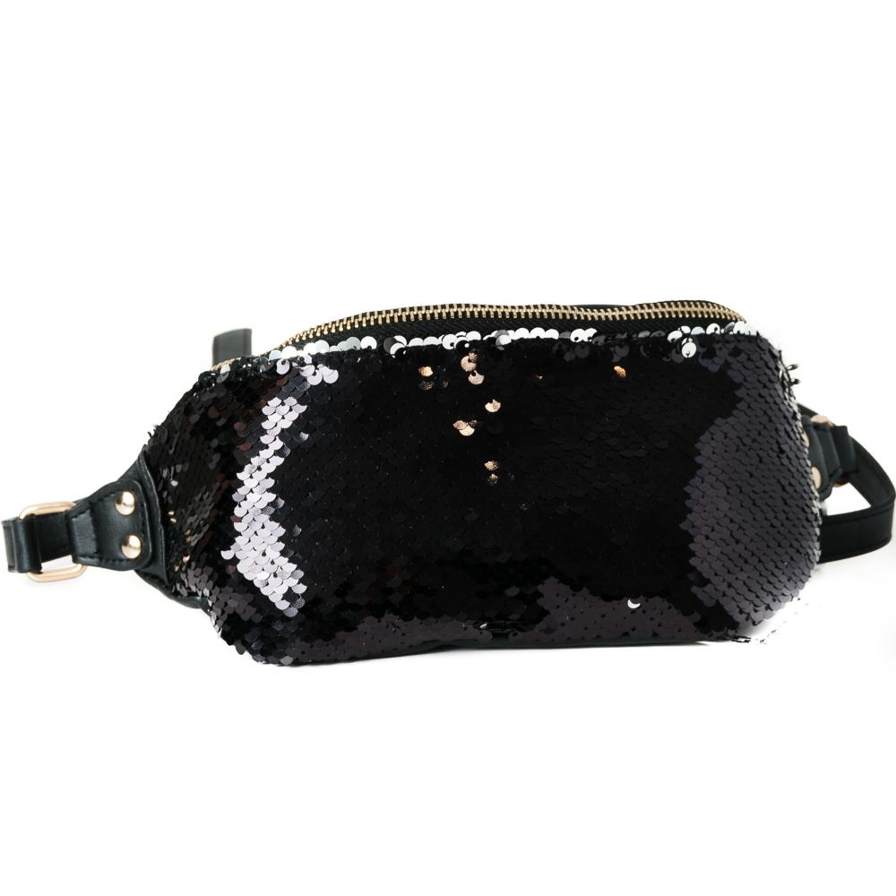 Bag, Bumbag big sequinces black