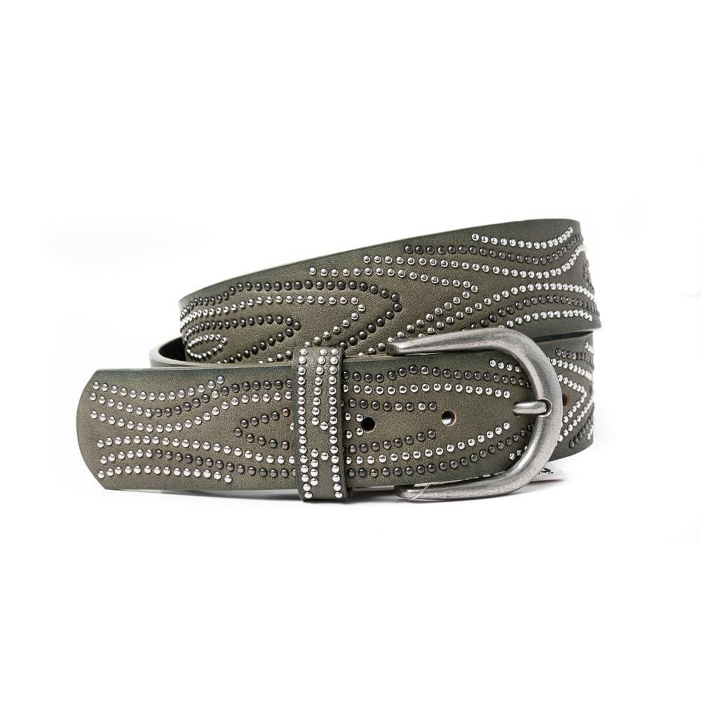 Belt, PU/Leather waves of rivets army