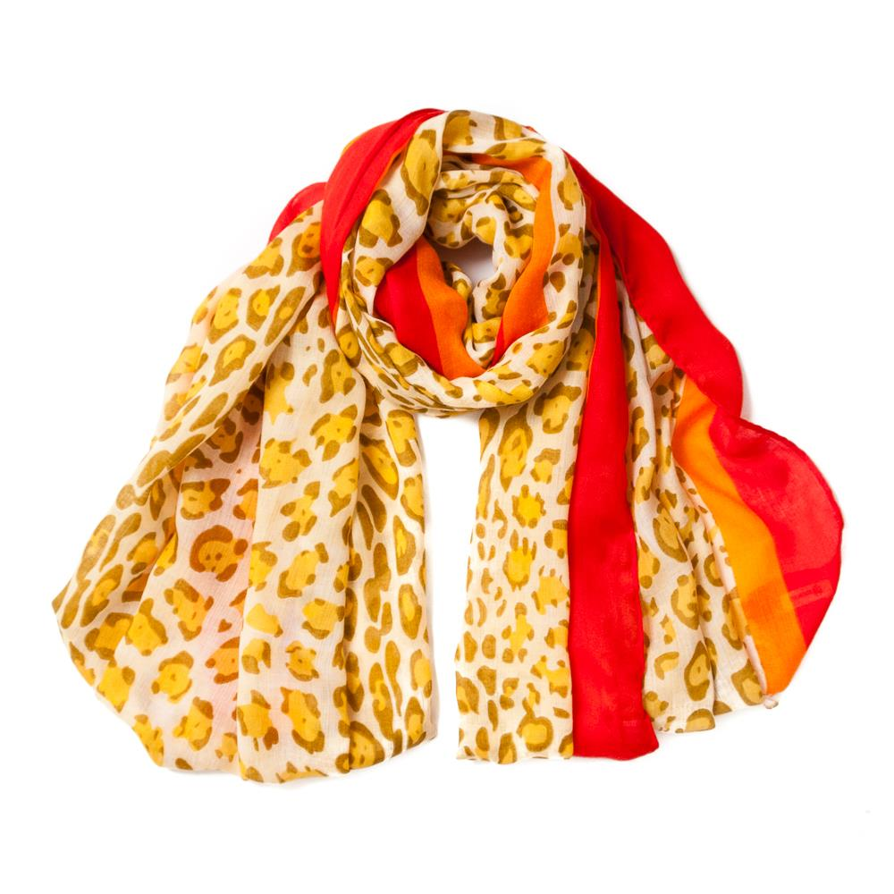 Scarf, colored leopard print yellow