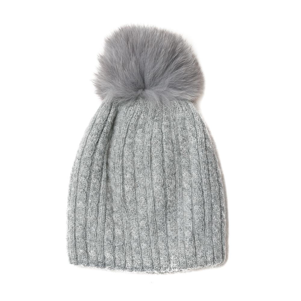 Hat, knitted kabel, knitted lining grey
