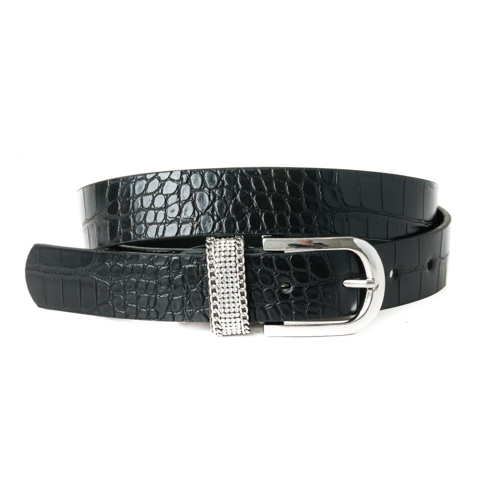 Belt, pu/leather croco strass loop black