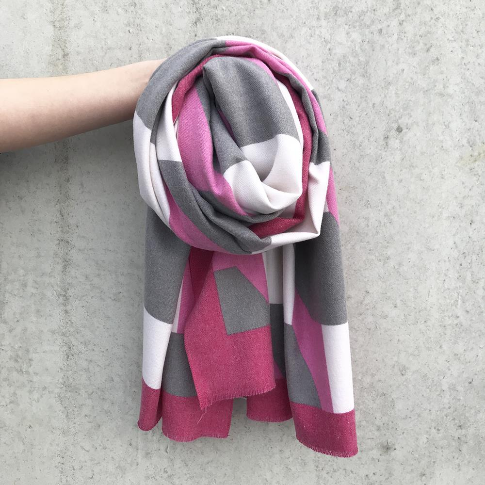 Scarf, Grafical pattern cashmere feeling pink