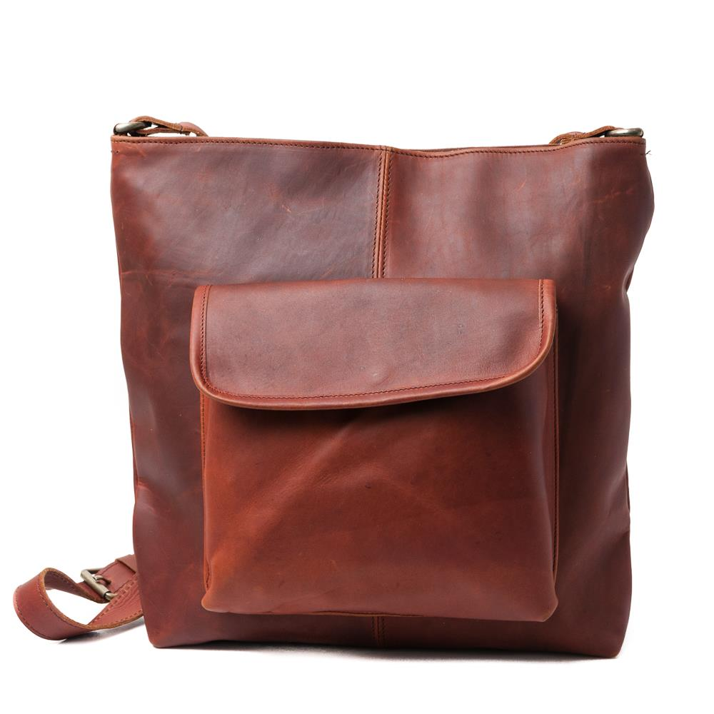 Bag, leather with front pocket dark brown