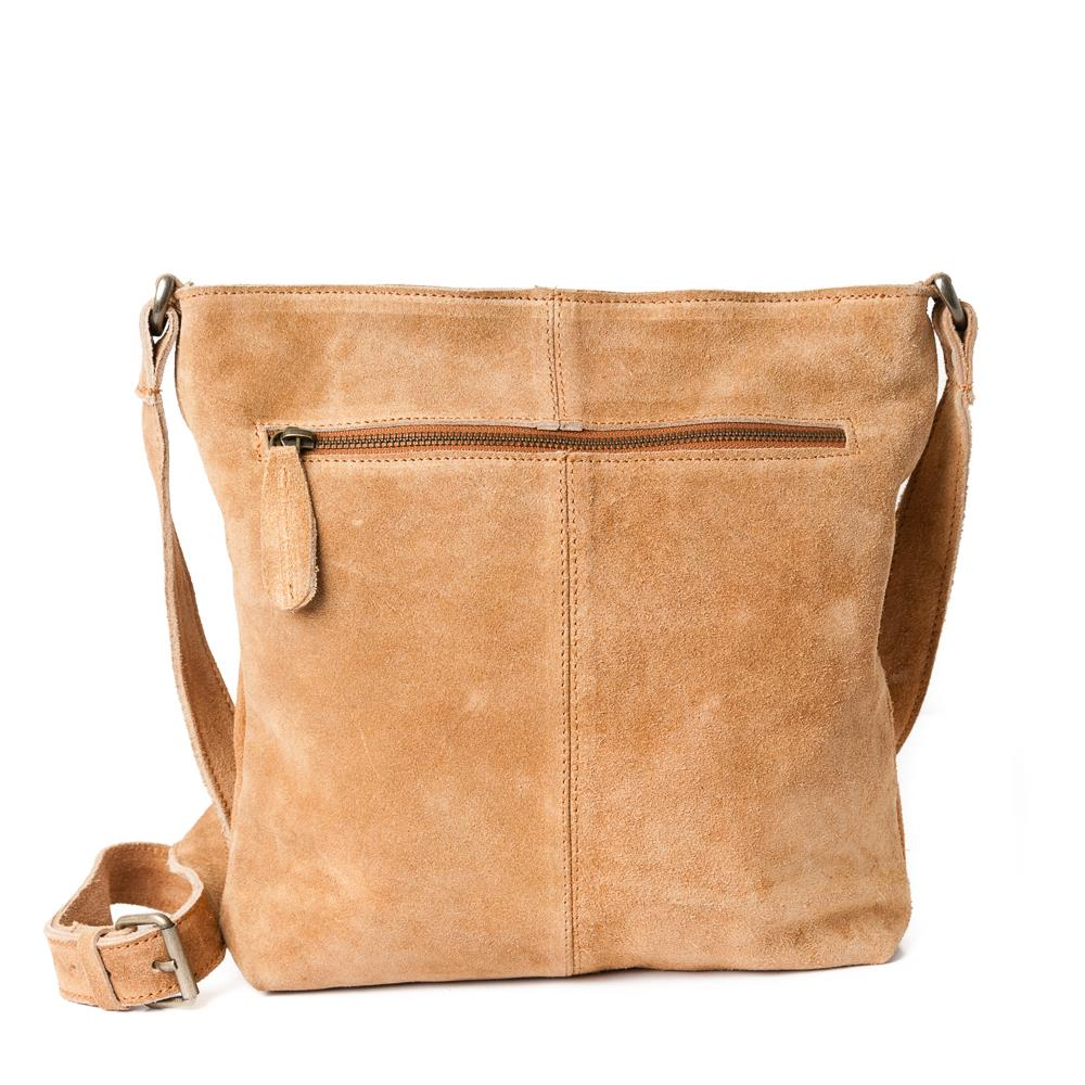 Bag, suede leather with zipper cognac