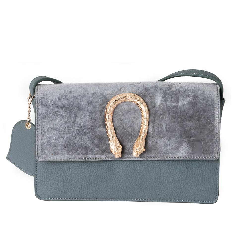Bag, snake buckle clutch grey