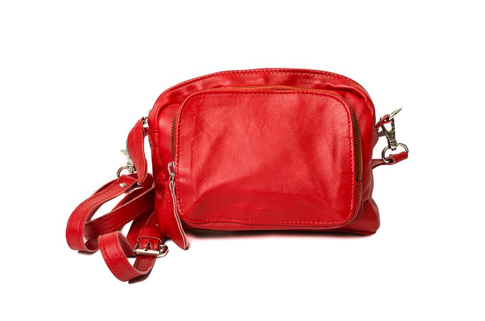 Bag, small oval shoulderbag red