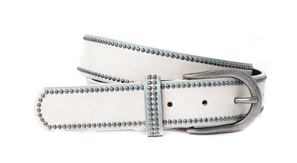 Belt, PU/Leather plain w copper rivets grey