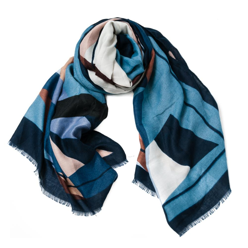 Scarf, grafical pattern blue
