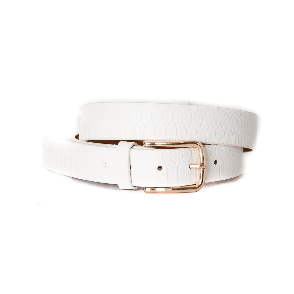 Belt, Croco Imm Belt Gold Buckle White