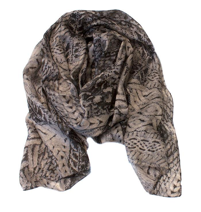 Scarf, silk knitted print beige/brown