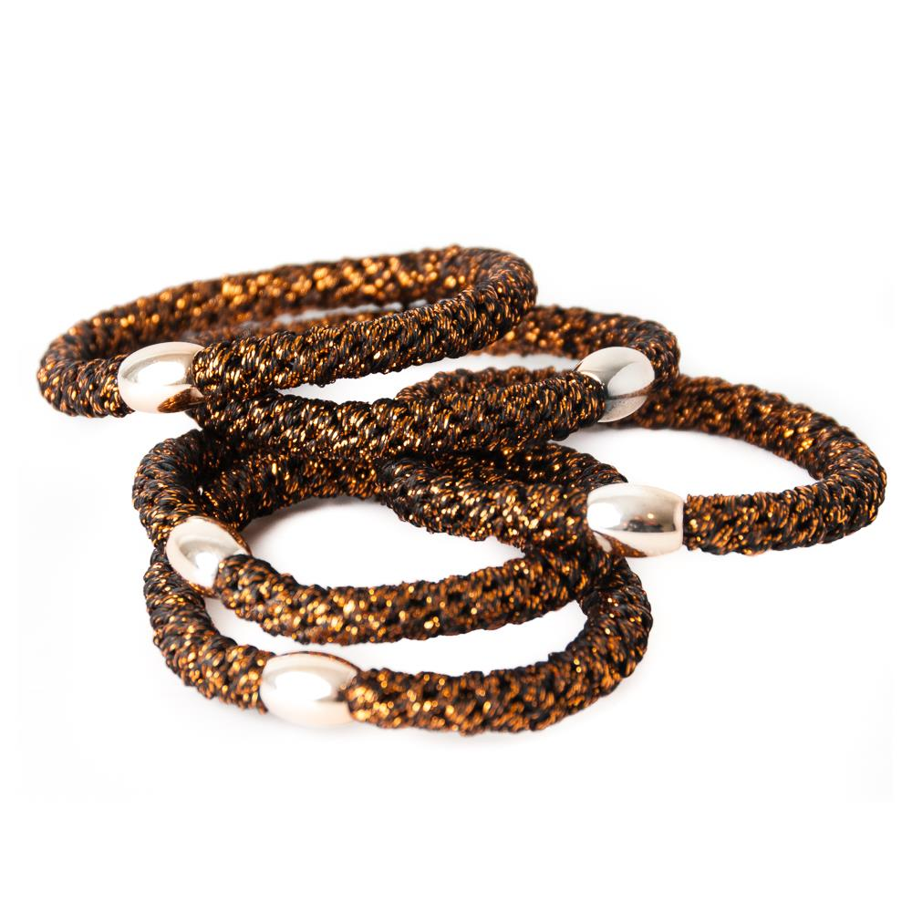 Elastic hair tie copper 6 pcs