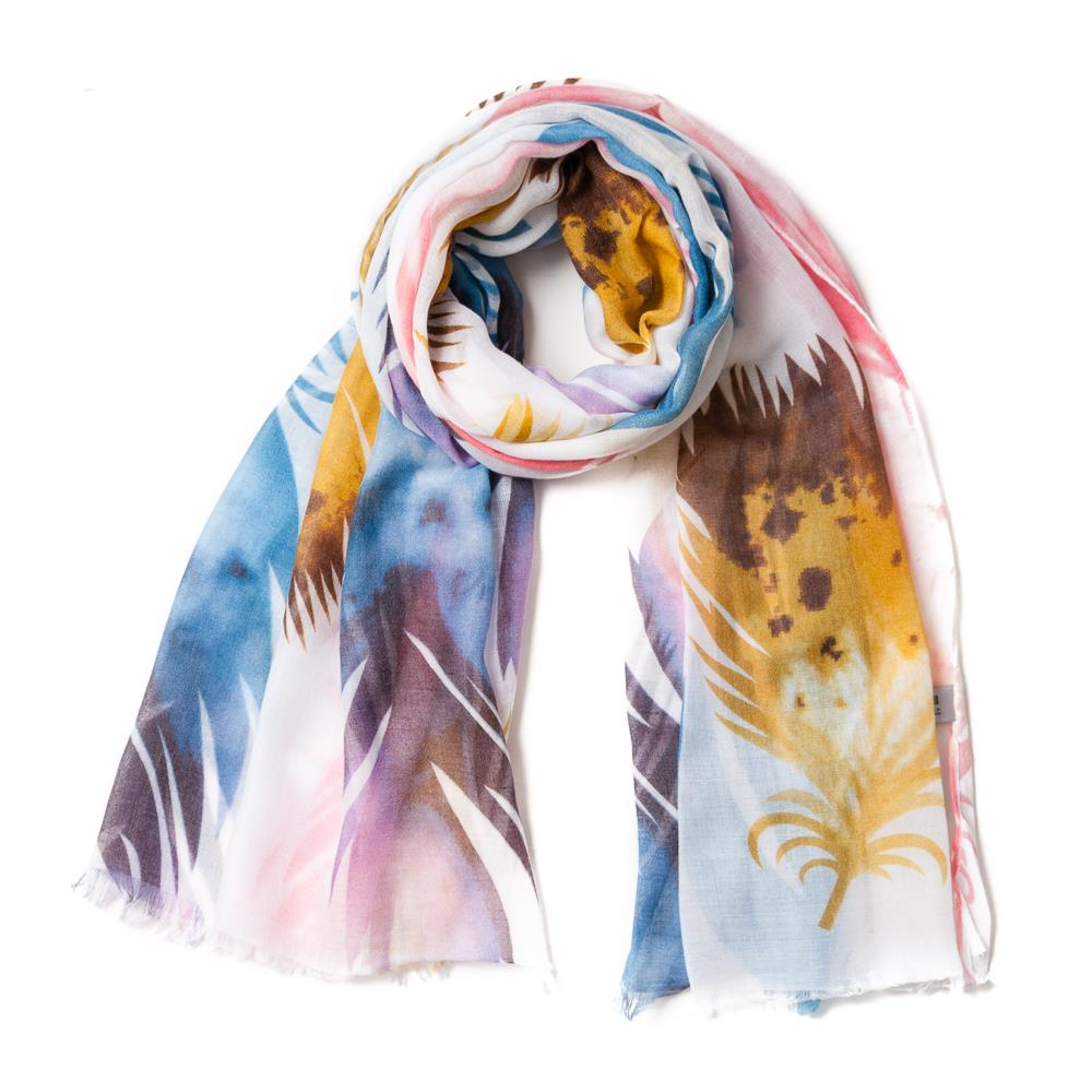 Scarf , feather print