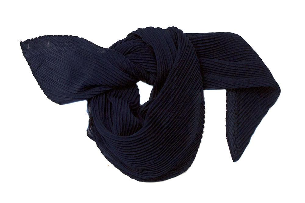 Scarf, small plizze navy