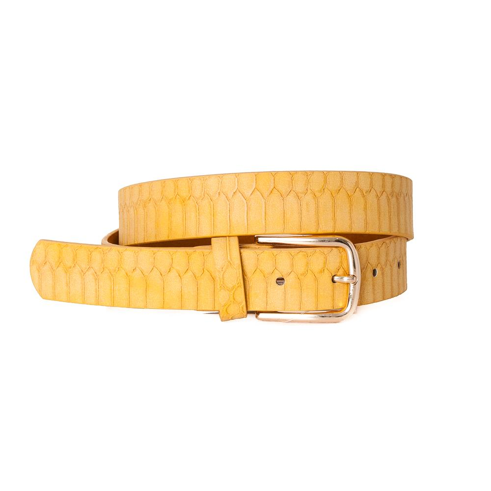 Belt, Croco Imm Belt Gold Buckle Yellow