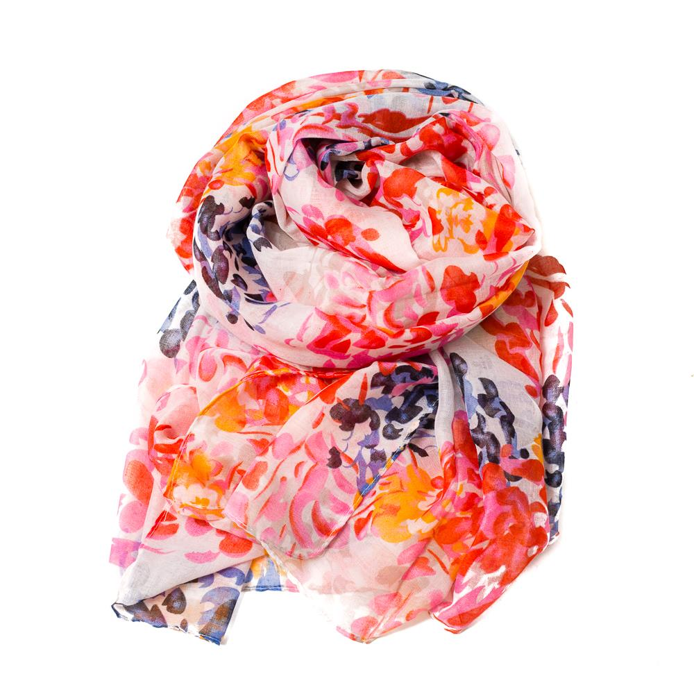 Scarf, summer flowers bright colors white