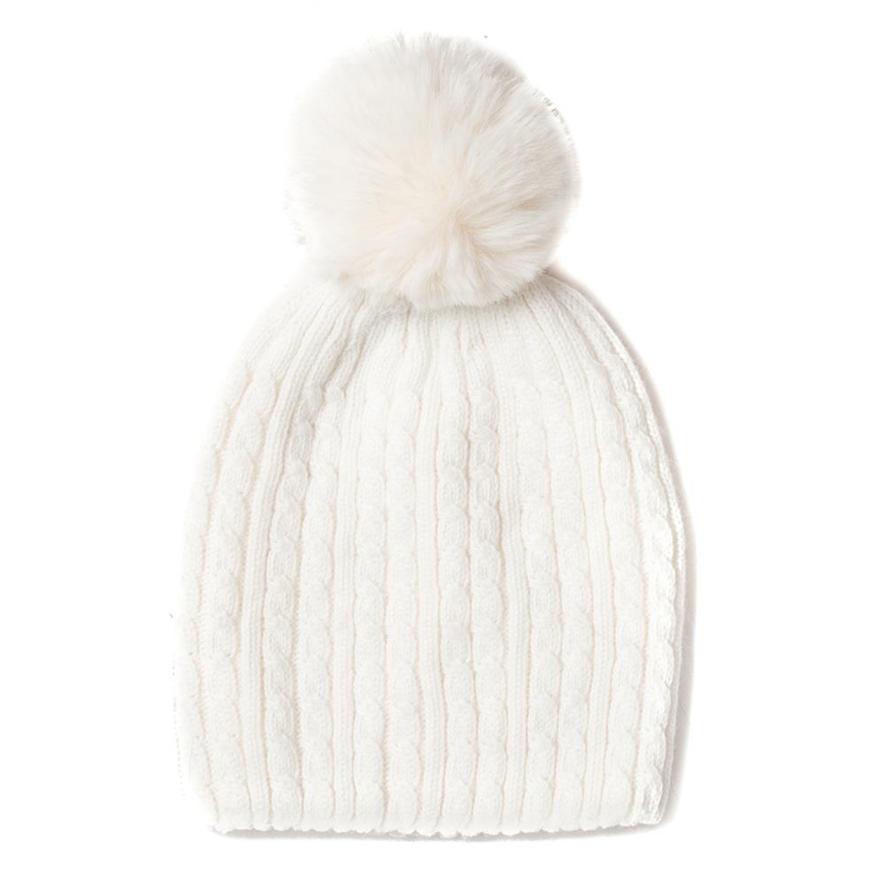 Hat, knitted kabel, knitted lining offwhite