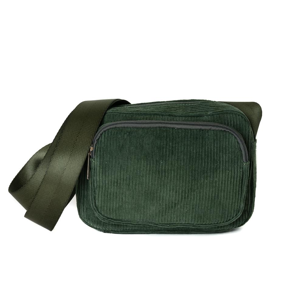 Bag, Andrea cord/velvet clutch army green