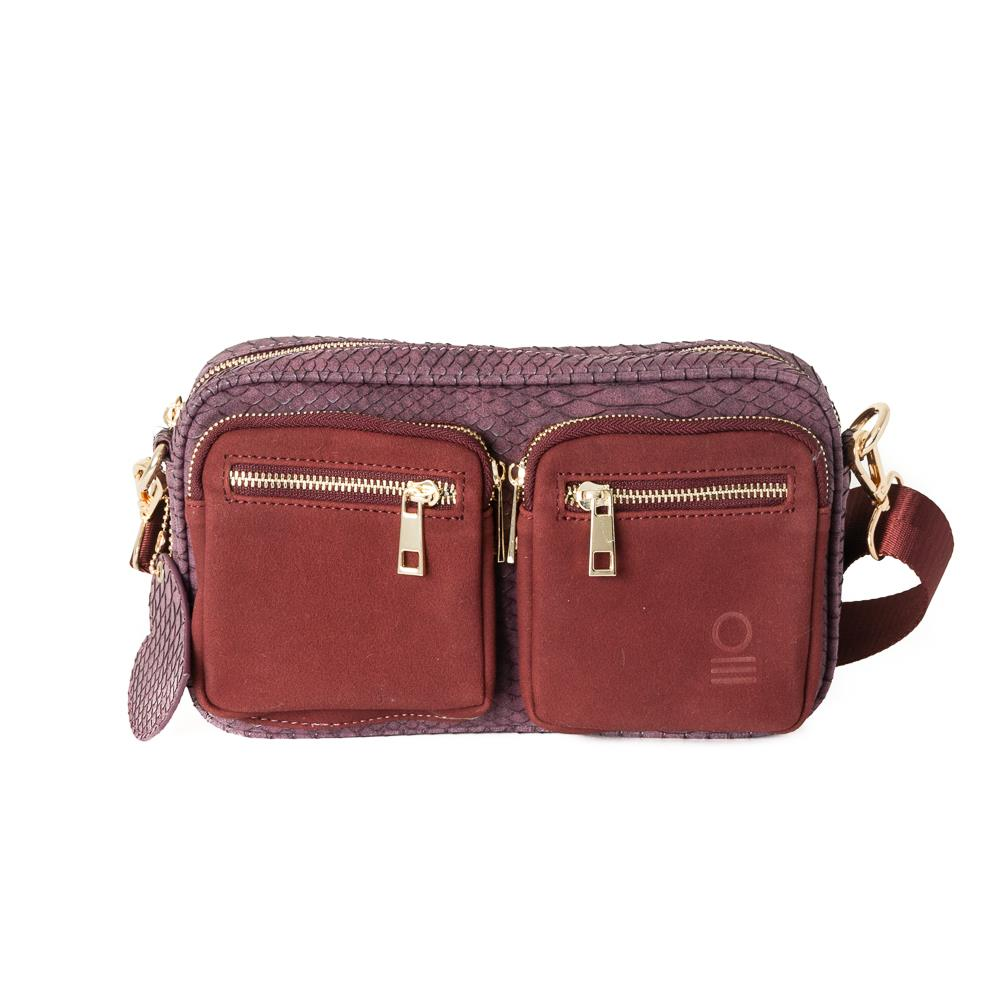 Bag, small croco zipper cross bordeaux