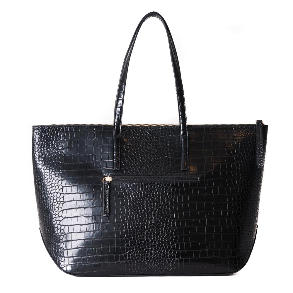 Bag, croco shopper black