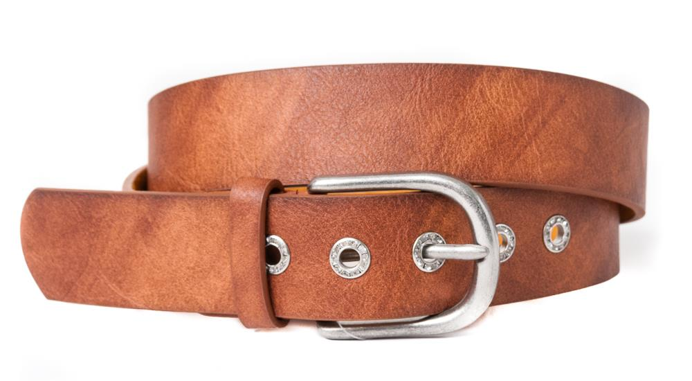 Belt, PU/Leather plain w crystal sirkels cognac