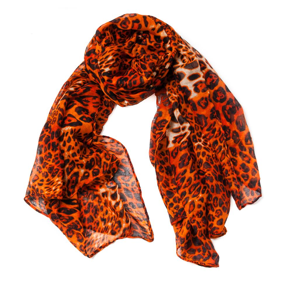 Scarf, leopard print orange