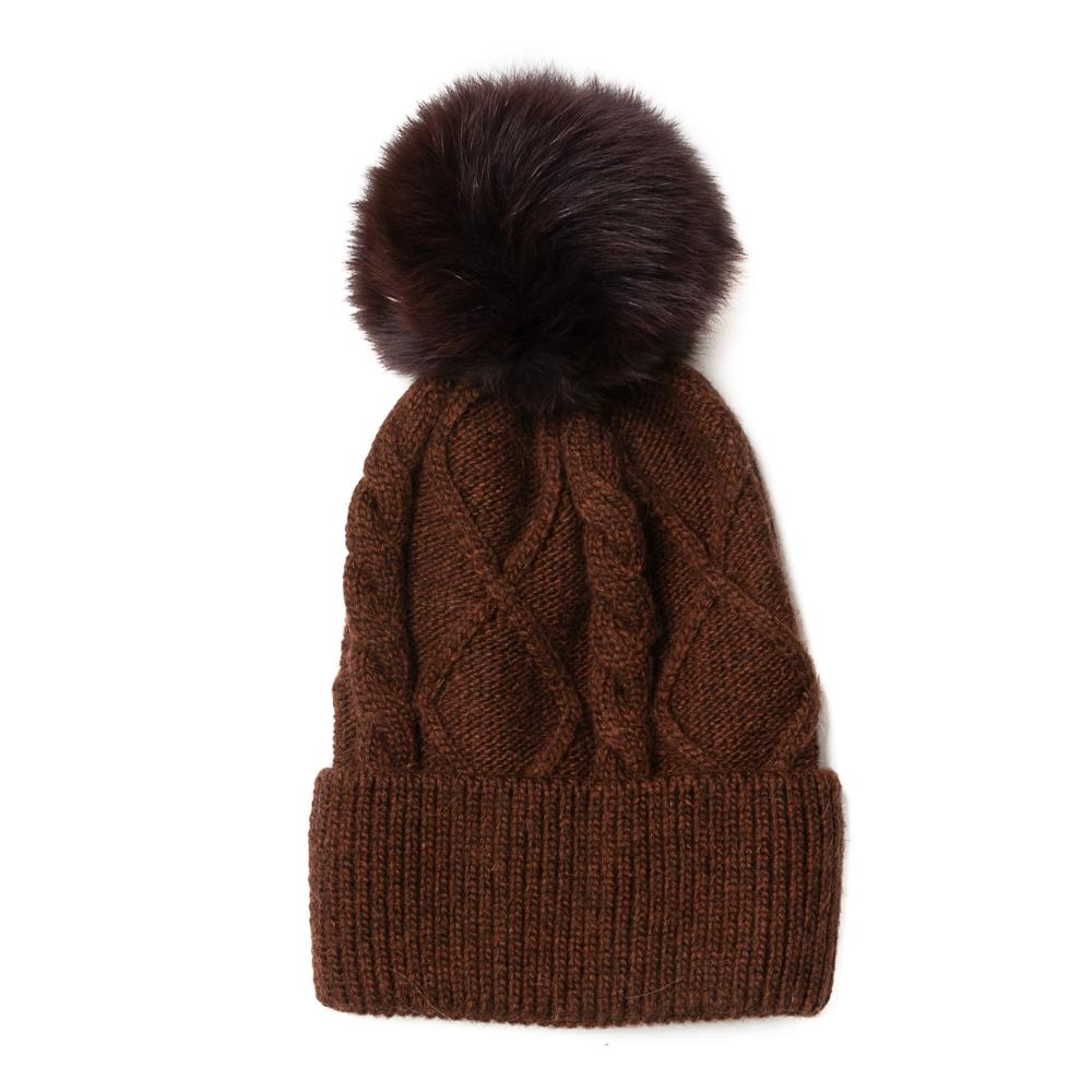 Hat, knitted kabel, pull up edge brown