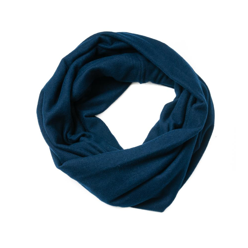 Scarf, knitted tube navy