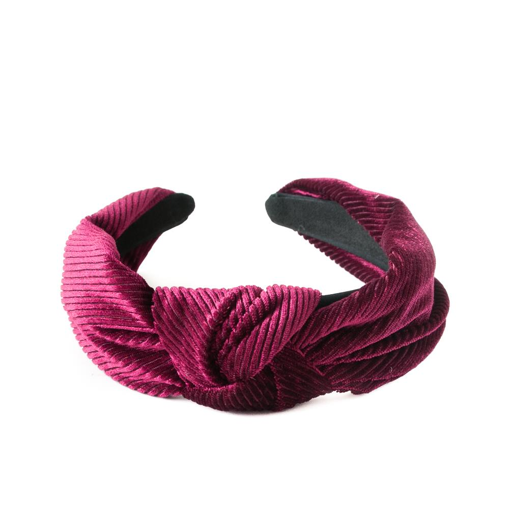Headband, Cross Velvet Headband Bordeaux