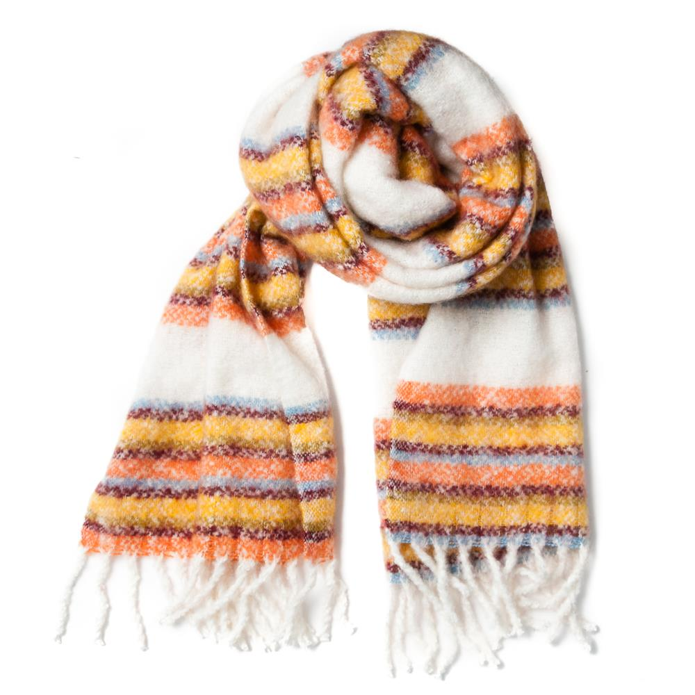 Scarf, fluffy stripes offwhite/mustard