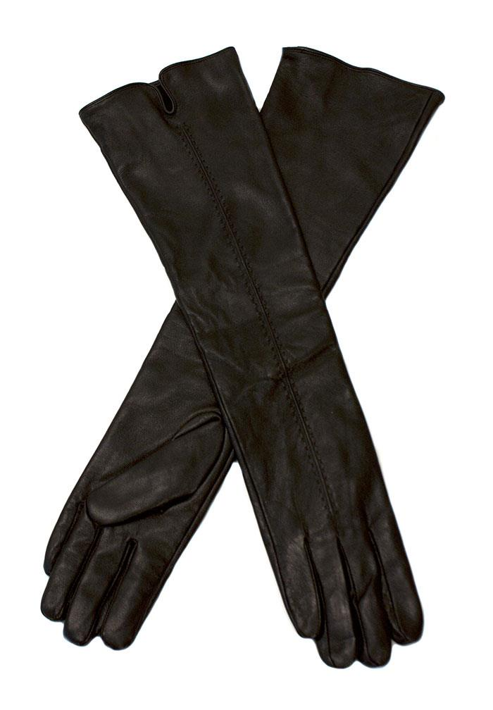 Glove, leather long w elastic
