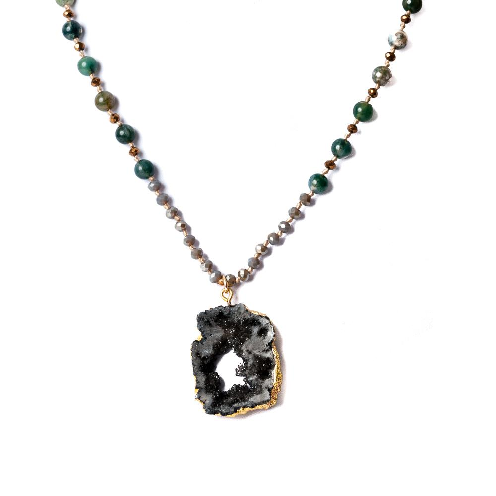 Necklace, crystal with stone pedant black