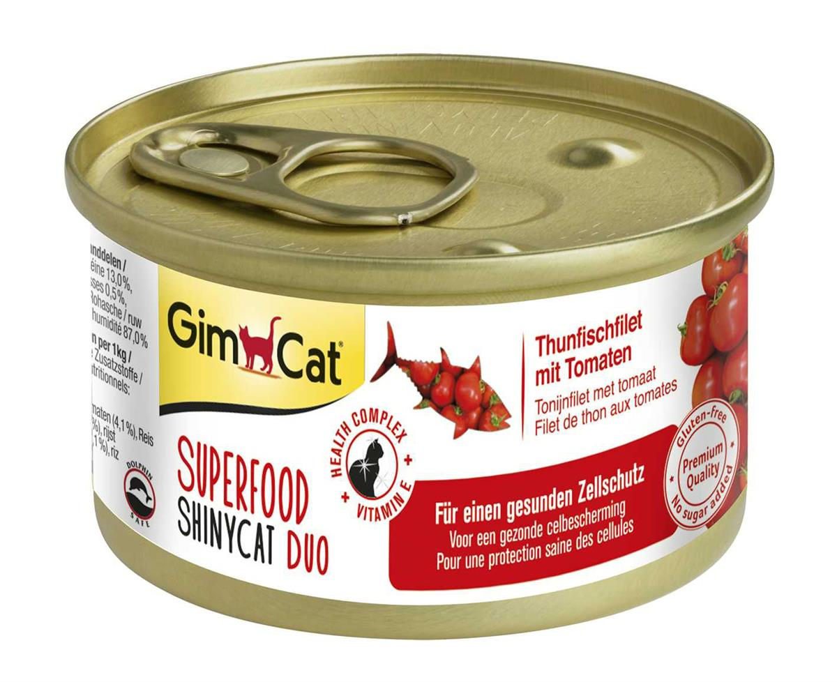GimCat Superfood ShinyCat Duo Tunfiskfilet med Tomat