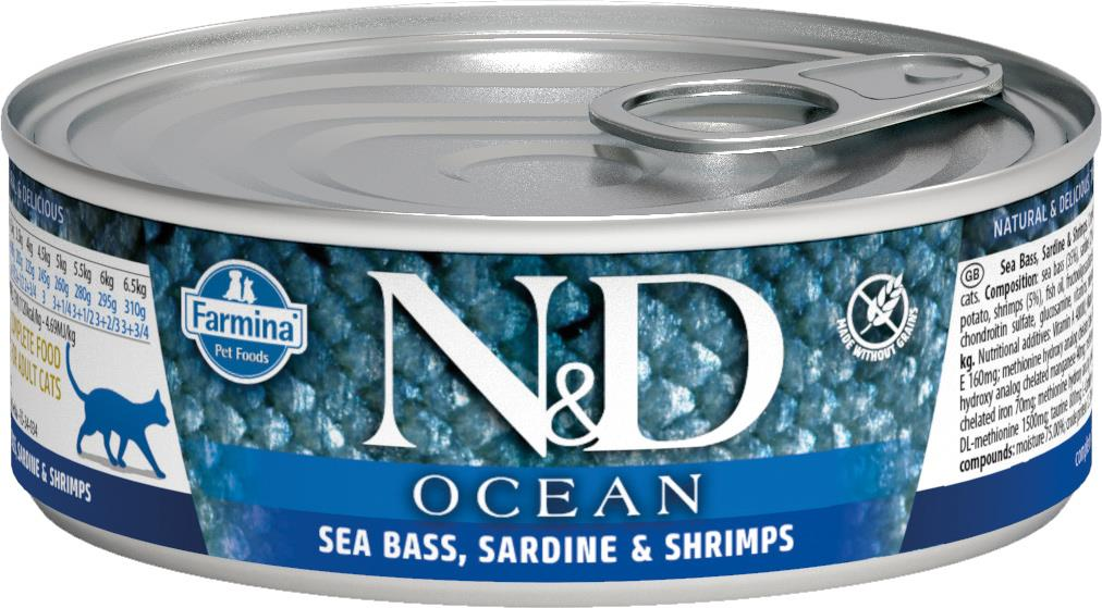 FARMINA N&D CAT OCEAN SEABASS&SARDINE&SHRIMPS 80G CAN