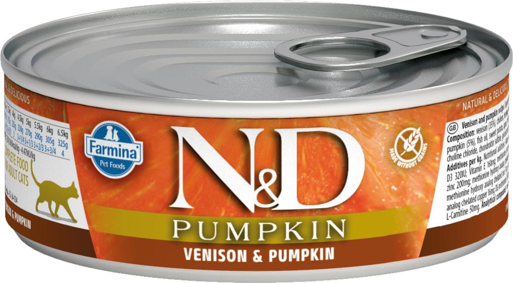 FARMINA N&D CAT PUMPKIN VENISON 80G CAN