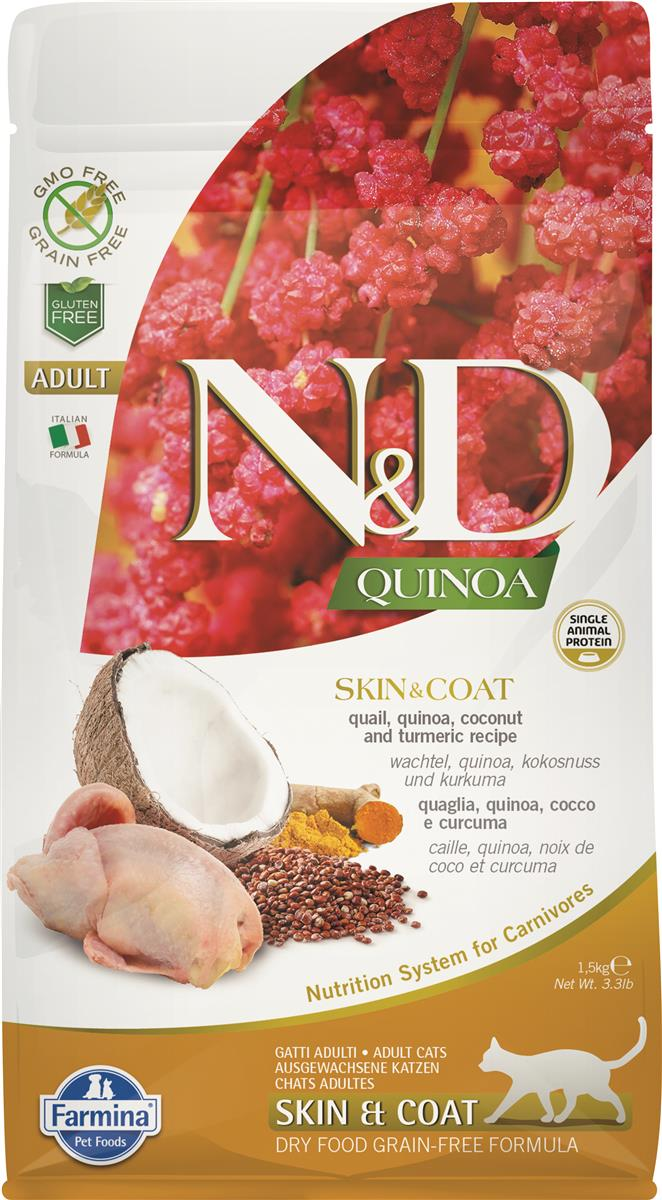 FARMINA N&D CAT QUINOA SKIN & COAT QUAIL 1,5 KG