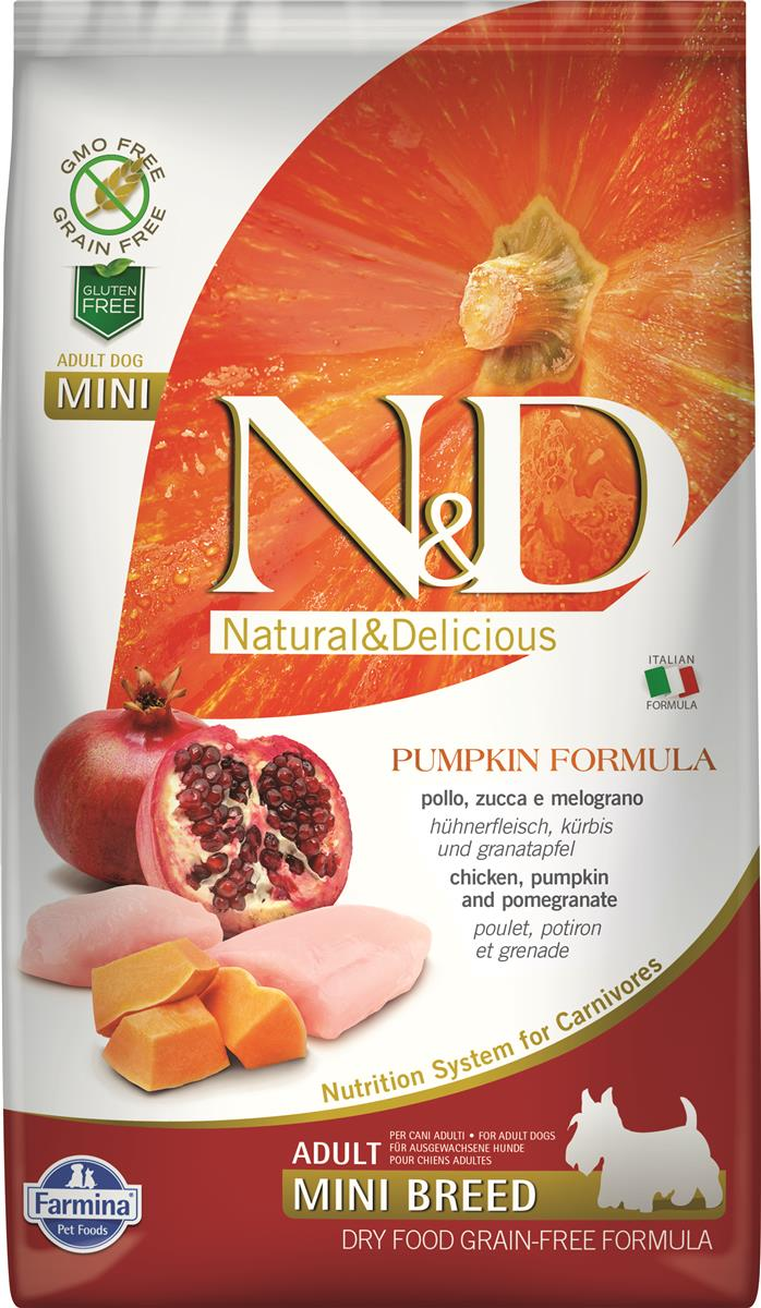FARMINA N&D DOG PUMPKIN CHICKEN & POMEGR ADULT MINI 2,5 KG