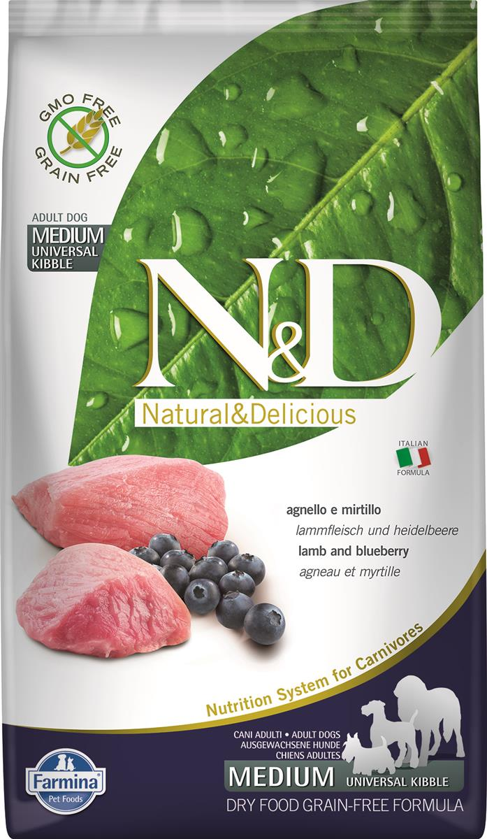 N&D PRIME DOG  LAMB AND BLUEBERRY ADULT MEDIUM & MAXI 2.5KG