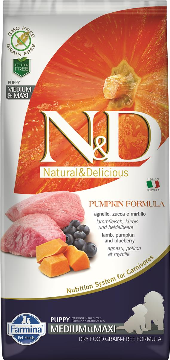 FARMINA N&D DOG PUMPKIN LAMB & BLUEBERRY PUP MED/MAX 12 KG