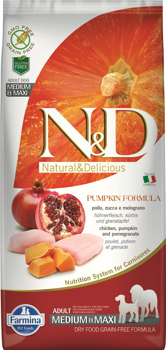 FARMINA N&D DOG PUMPKIN CHICKEN & POMEGR ADULT MED/MAX 12 KG