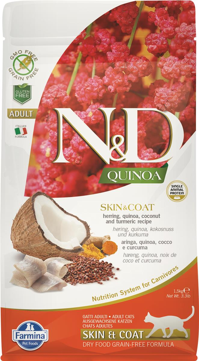 FARMINA N&D CAT QUINOA SKIN & COAT HERRING 1,5 KG