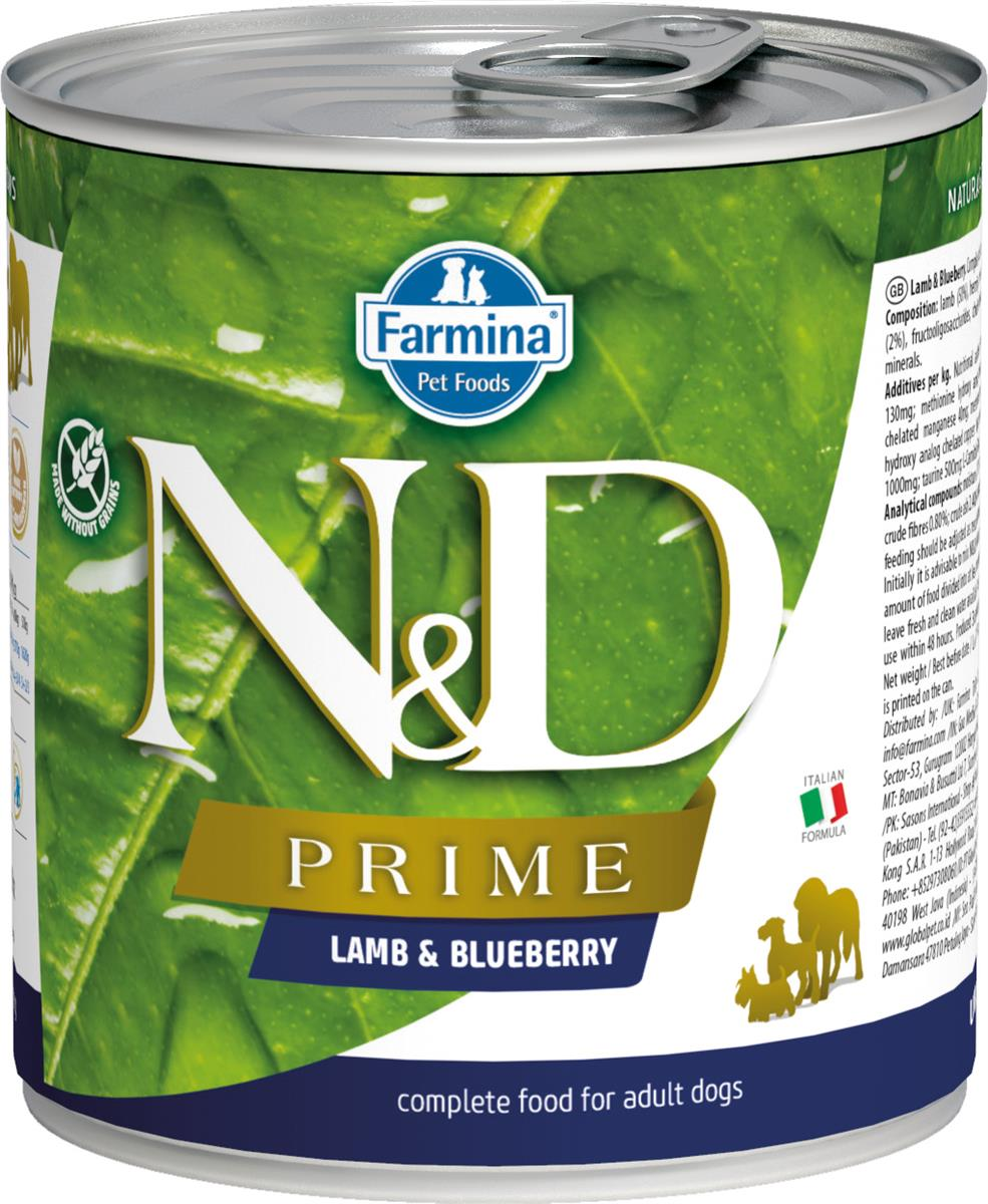 FARMINA N&D DOG PRIME LAMB&BLUEBERRY 285G CAN
