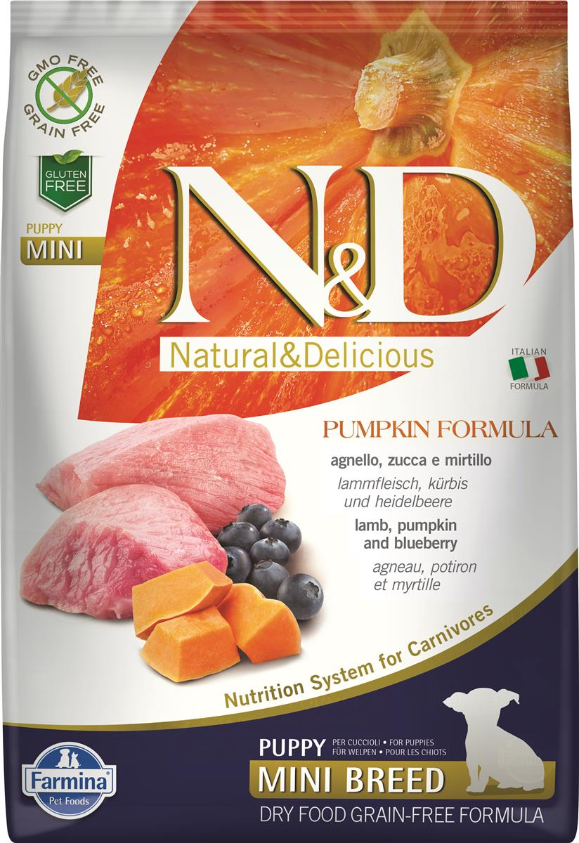 FARMINA N&D DOG PUMPKIN LAMB & BLUEBERRY PUP MINI 7 KG